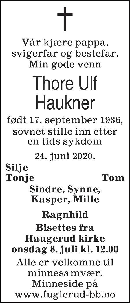 Thore Ulf Haukner Dødsannonse