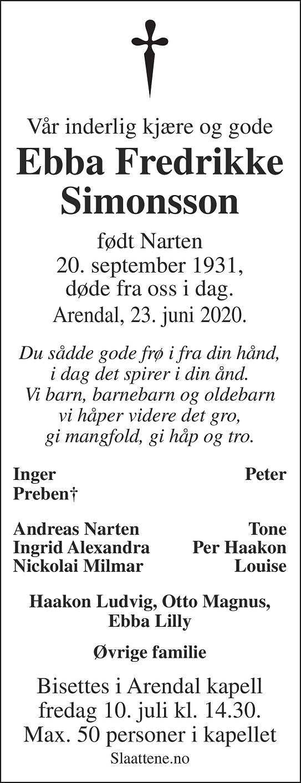 Ebba Fredrikke Narten Simonsson Dødsannonse