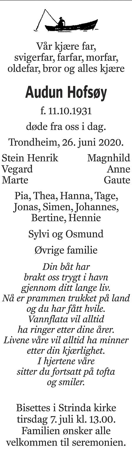 Audun  Hofsøy Dødsannonse