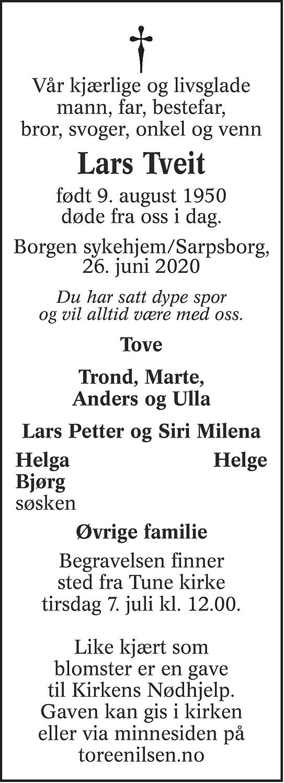 Lars Tveit Dødsannonse