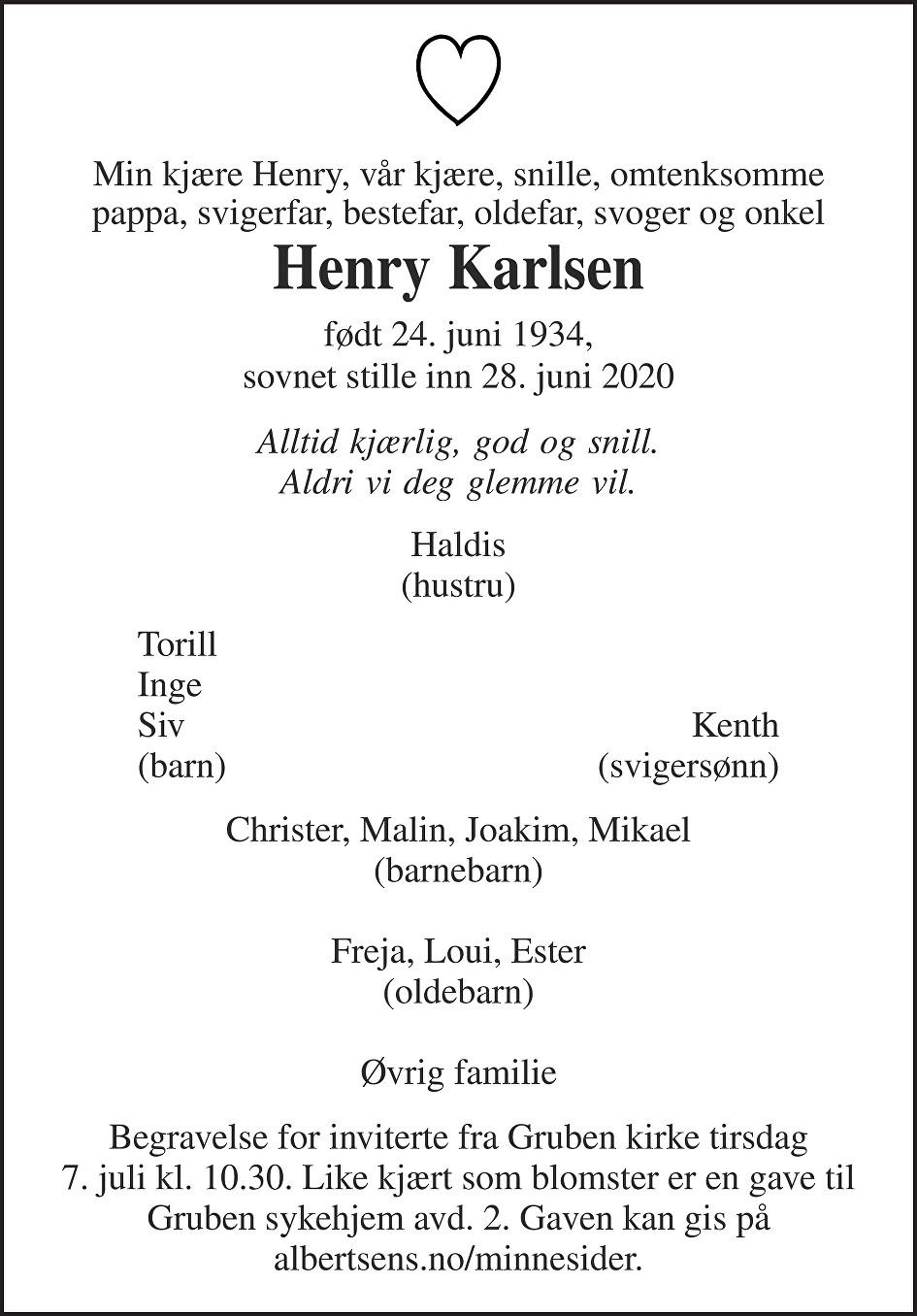 Henry Karlsen Dødsannonse