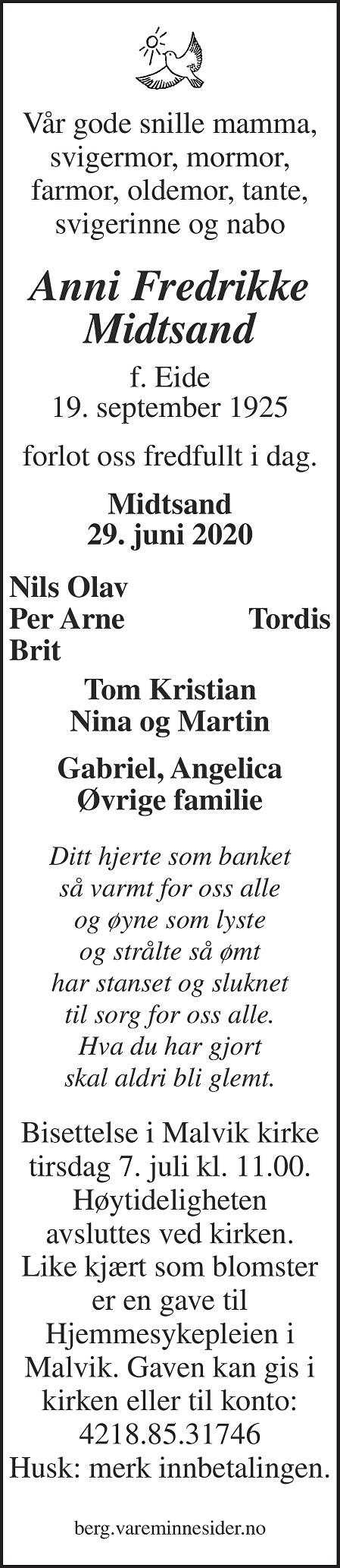 Anni Fredrikke Midtsand Dødsannonse