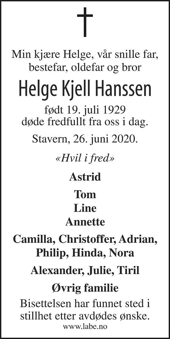 Helge Kjell Hanssen Dødsannonse