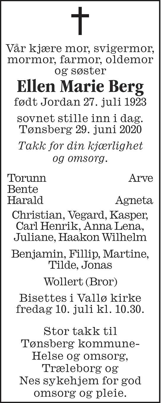 Ellen Marie Pihl Berg Dødsannonse
