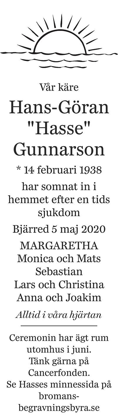 """Hans-Göran """"Hasse"""" Gunnarson Death notice"""