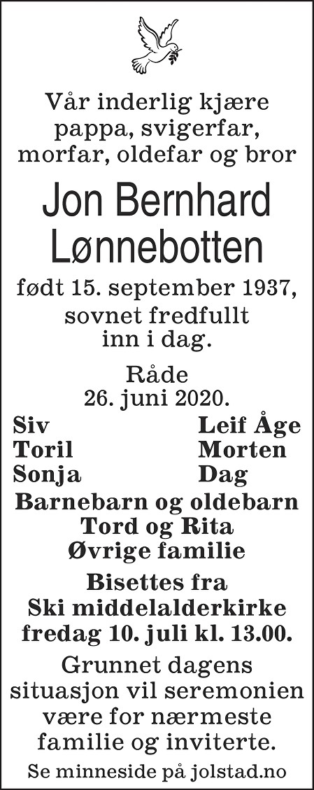 Jon Bernhard Lønnebotten Dødsannonse