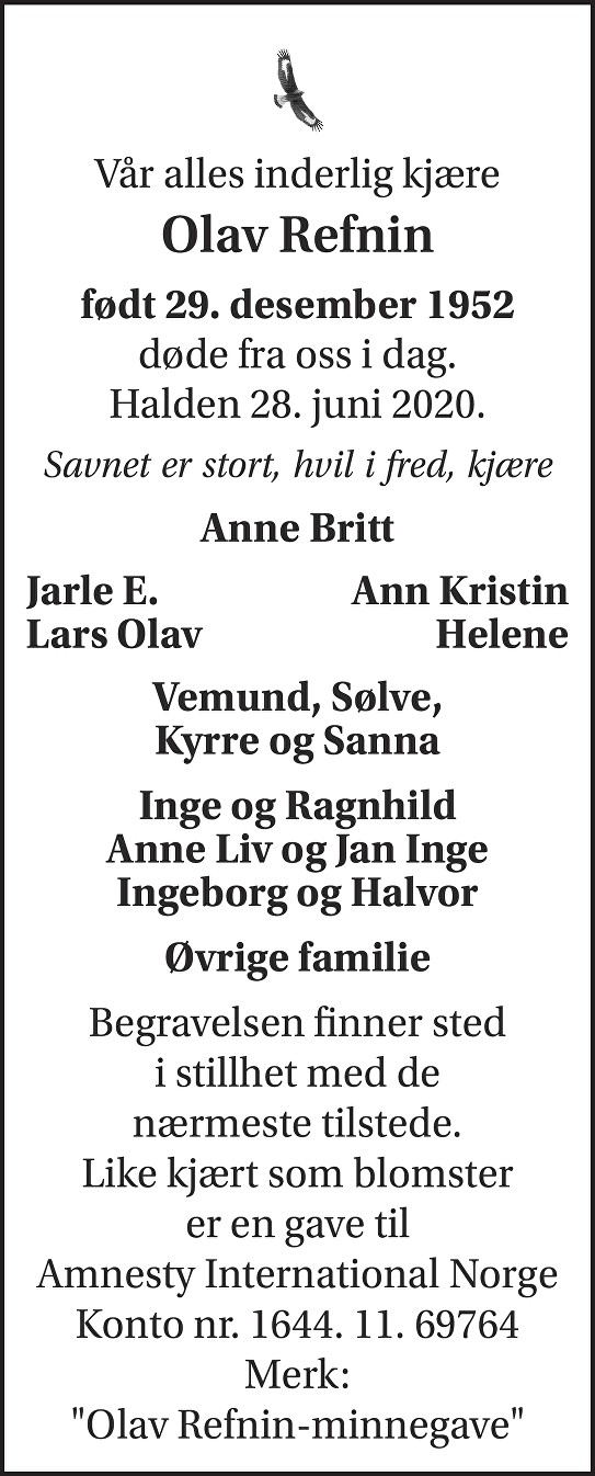 Olav Refnin Dødsannonse