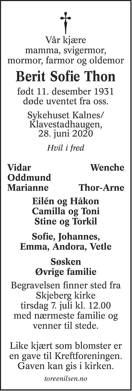 Berit Sofie Thon Dødsannonse