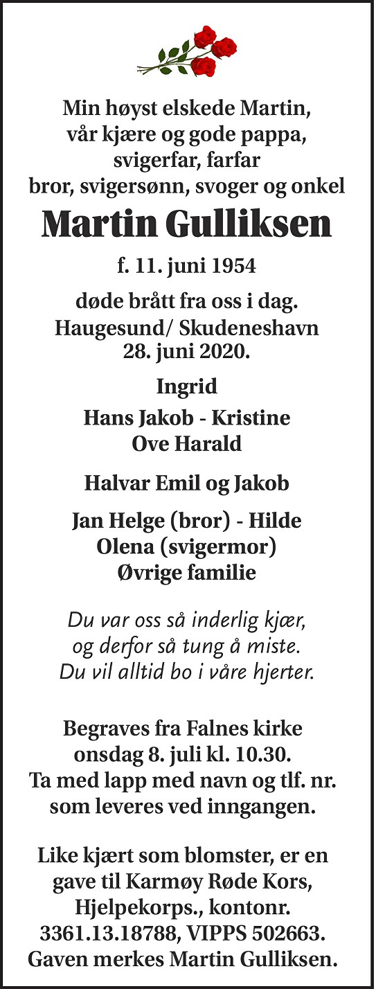 Martin Gulliksen Dødsannonse