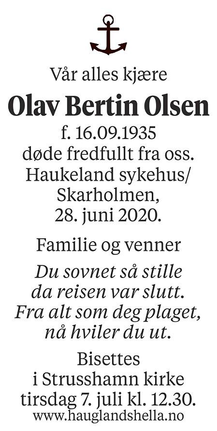 Olav Bertin Olsen Dødsannonse