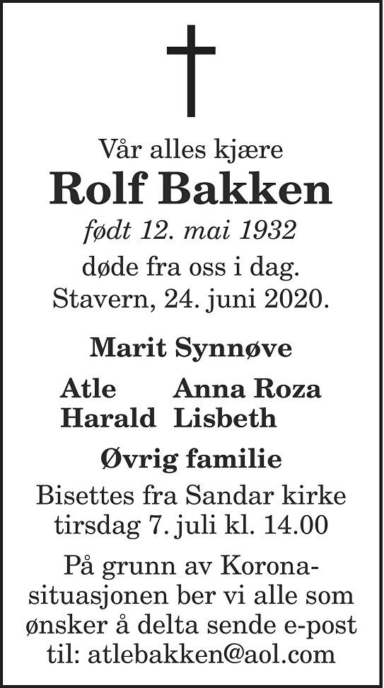 Rolf Bakken Dødsannonse