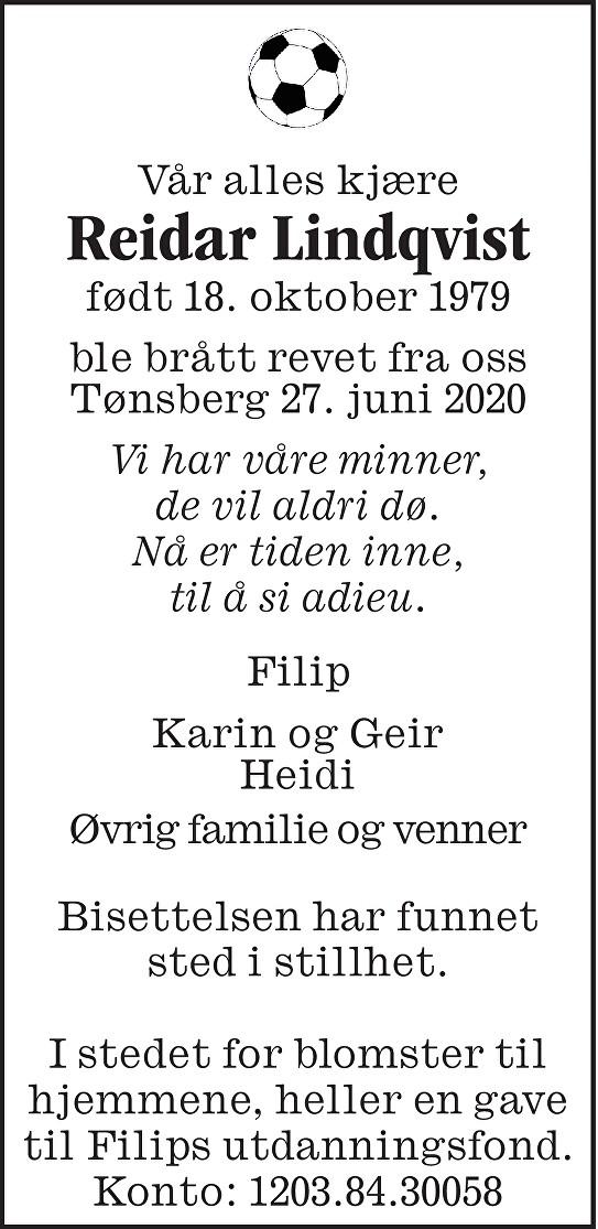Reidar Lindqvist Dødsannonse