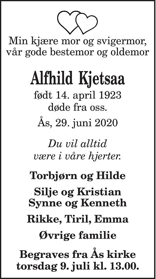 Alfhild Kristine Kjetsaa Dødsannonse