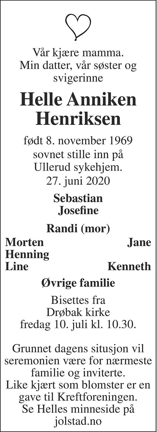 Helle Anniken Henriksen Dødsannonse