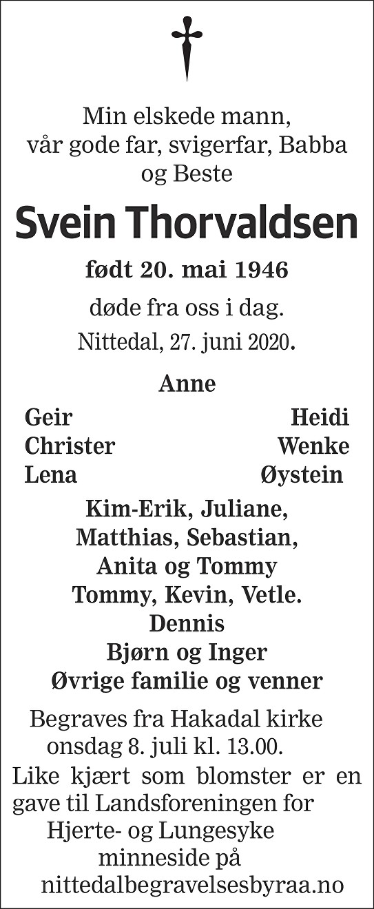 Svein  Thorvaldsen Dødsannonse