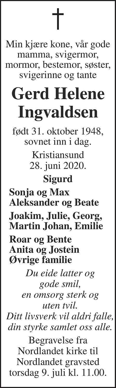 Gerd Helene Ingvaldsen Dødsannonse