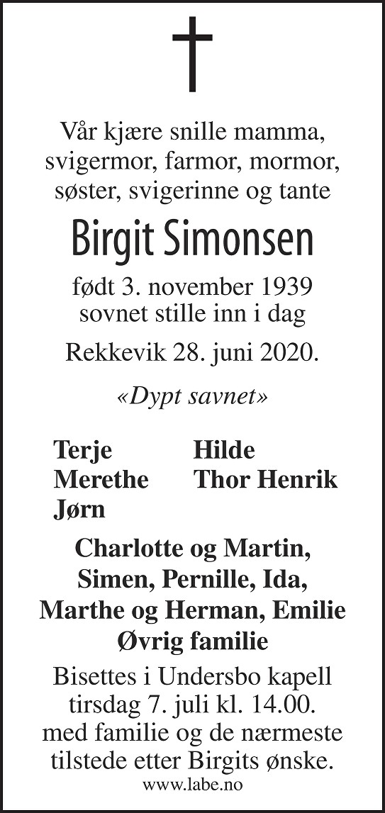 Birgit Simonsen Dødsannonse