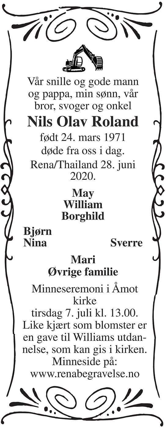 Nils Olav Roland Dødsannonse
