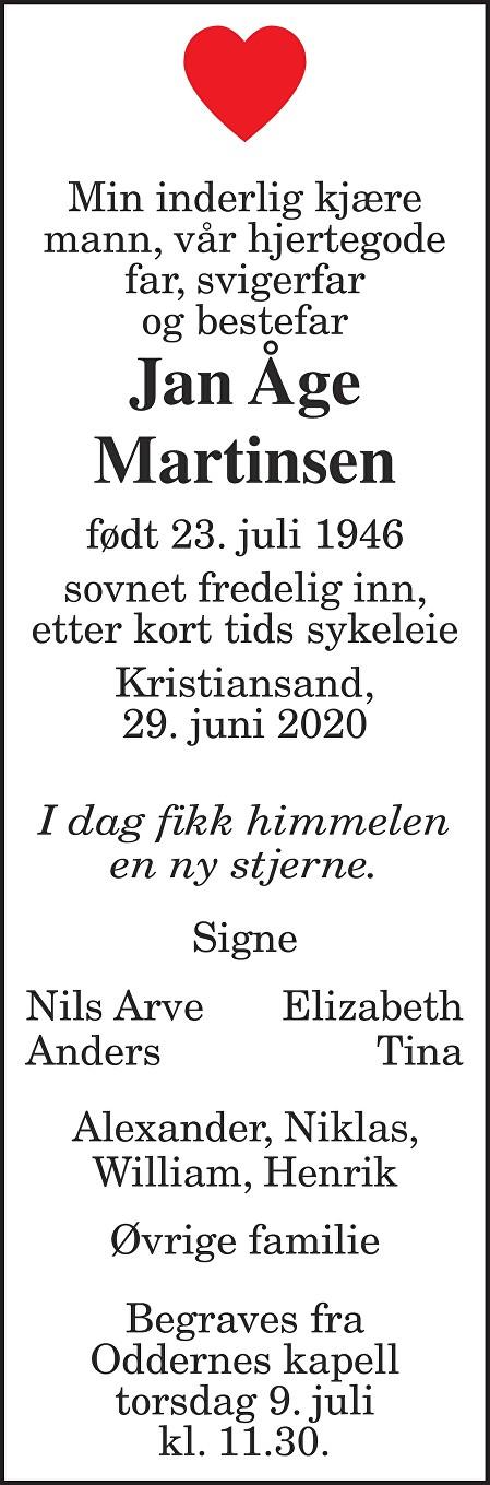 Jan Åge Martinsen Dødsannonse
