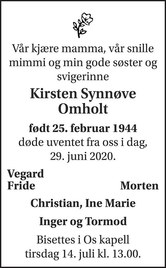 Kirsten Synnøve Omholt Dødsannonse