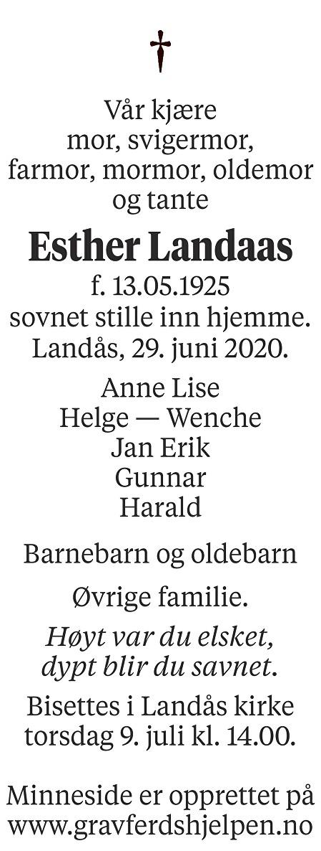 Esther Nilsen Landaas Dødsannonse