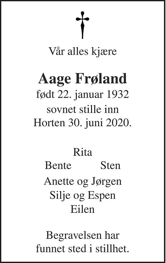 Aage Frøland Dødsannonse