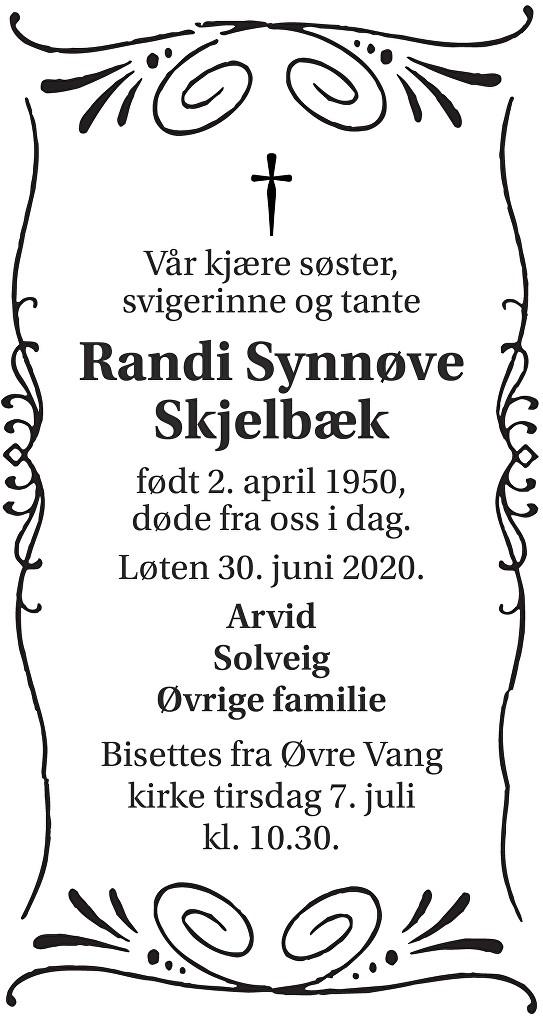 Randi Synnøve Skjelbæk Dødsannonse