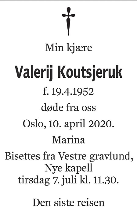 Valerij Koutsjeruk Dødsannonse