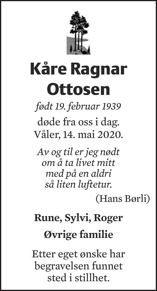 Kåre Ragnar Ottosen Dødsannonse