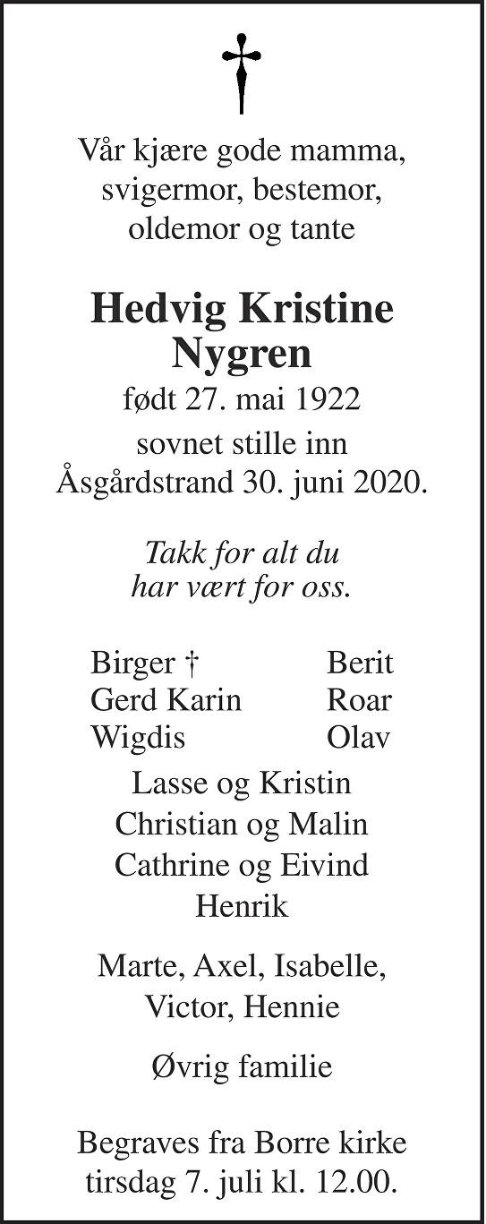Hedvig Kristine Nygren Dødsannonse