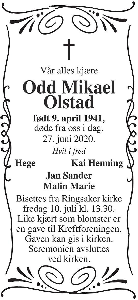 Odd Mikael Olstad Dødsannonse