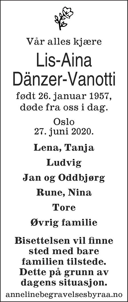 Lis-Aina  Dänzer-Vanotti Dødsannonse