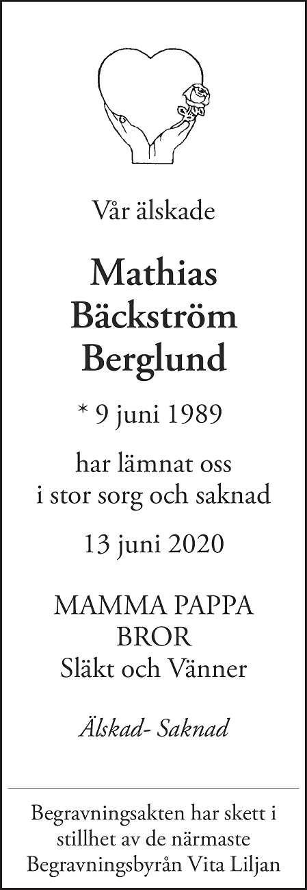 Mathias Bäckström Berglund Death notice