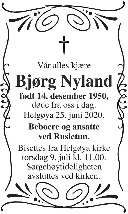 Bjørg Nyland Dødsannonse