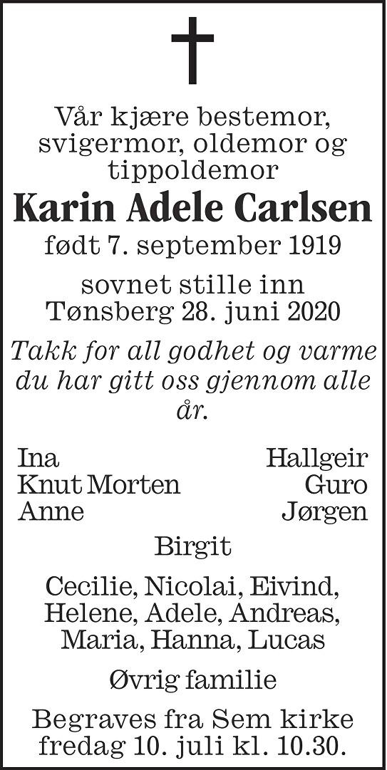 Karin Adele Carlsen Dødsannonse