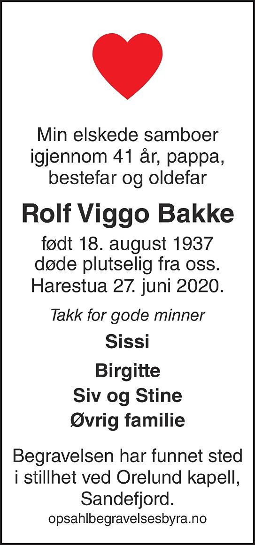 Rolf Viggo Bakke Dødsannonse