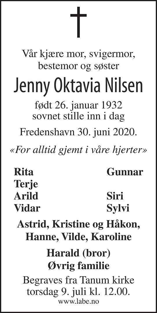 Jenny Oktavia Nilsen Dødsannonse