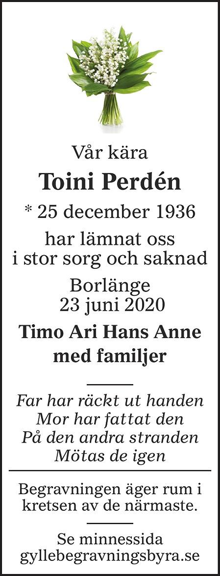 Toini Perdén Death notice