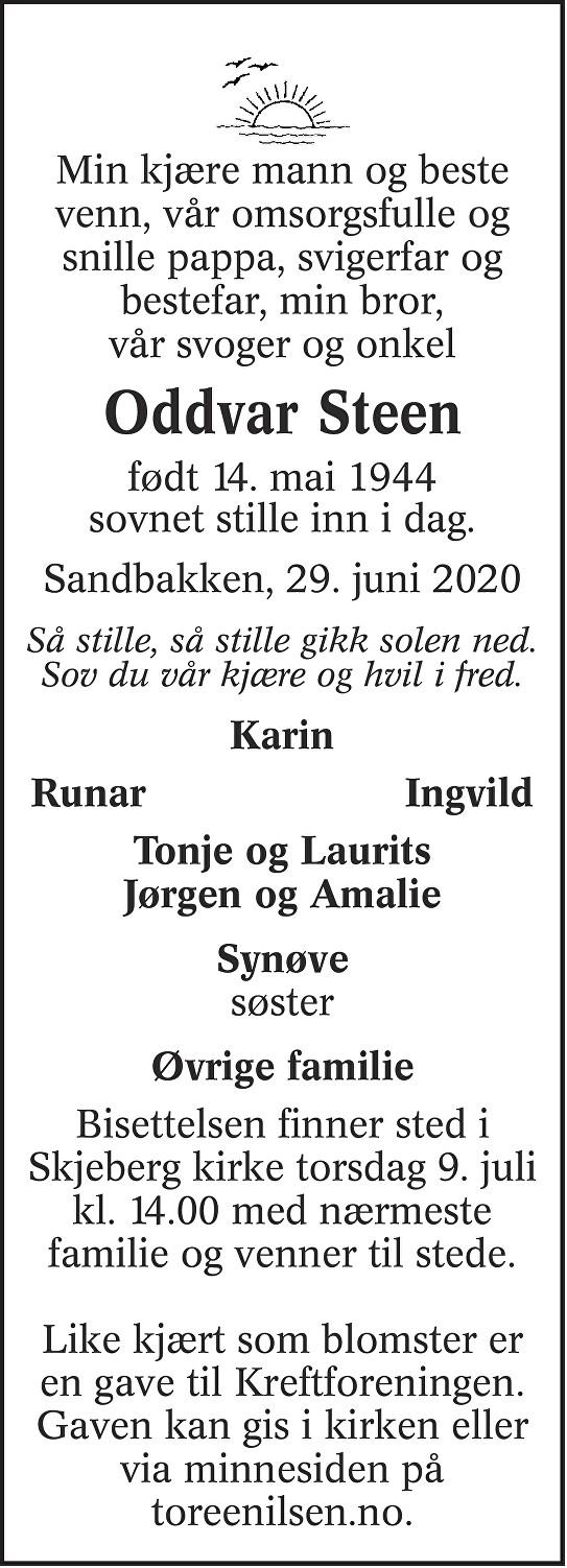 Oddvar Steen Dødsannonse