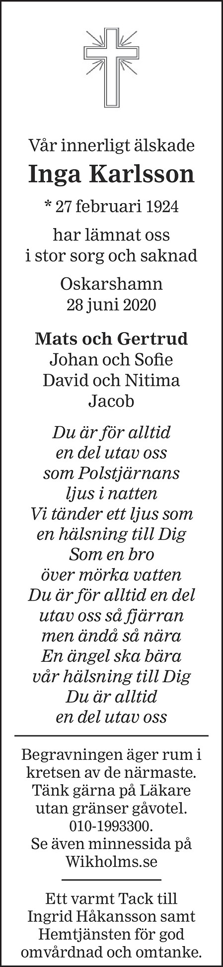Inga Karlsson Death notice