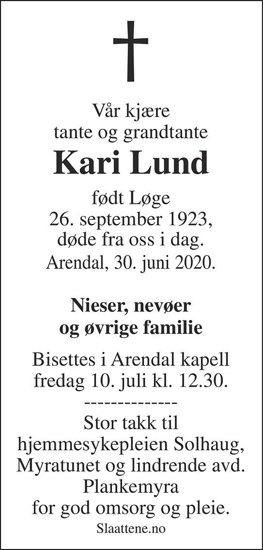 Kari Lund Dødsannonse
