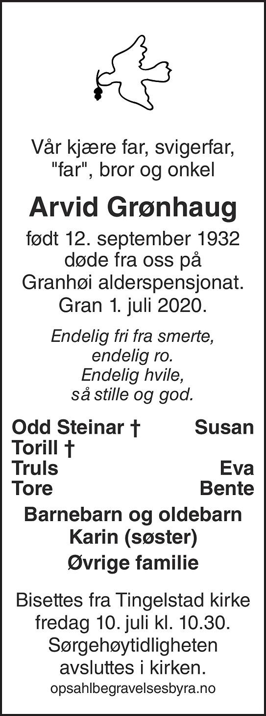 Arvid Grønhaug Dødsannonse