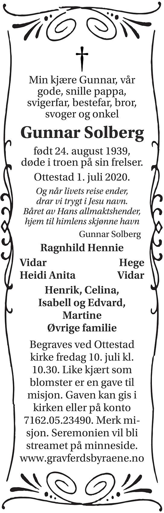 Gunnar Solberg Dødsannonse