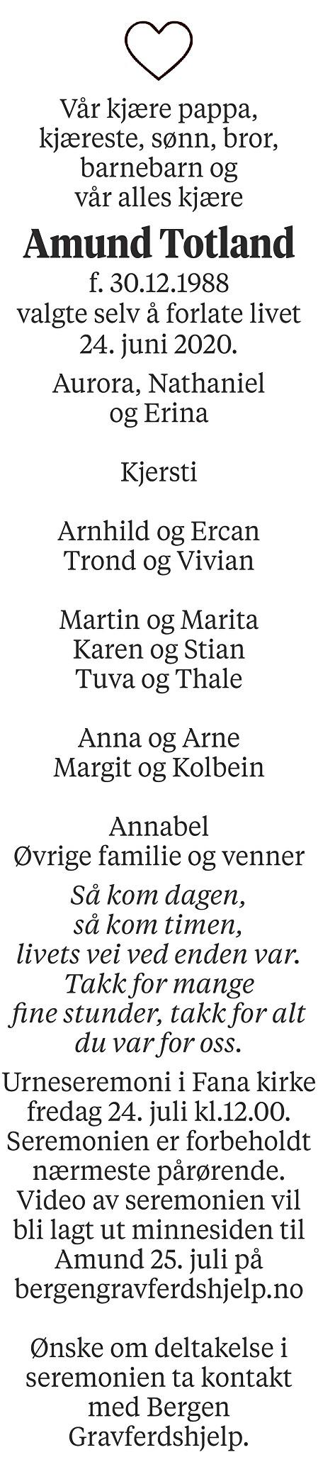 Amund Totland Dødsannonse