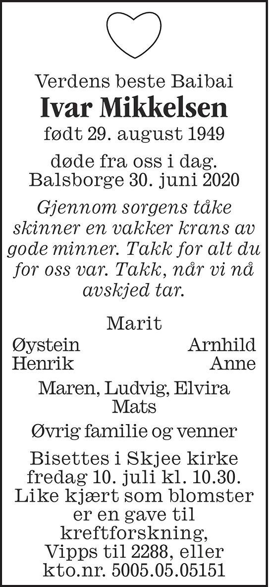 Ivar Mikkelsen Dødsannonse