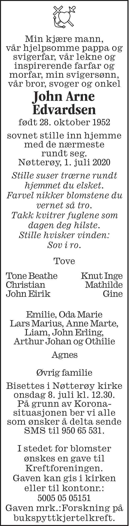 John Arne Edvardsen Dødsannonse
