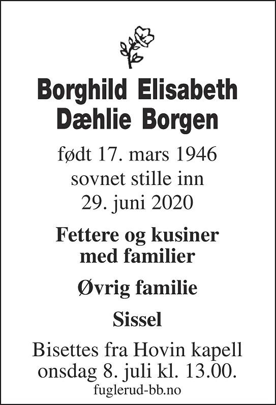 Borghild Elisabeth Dæhlie Borgen Dødsannonse