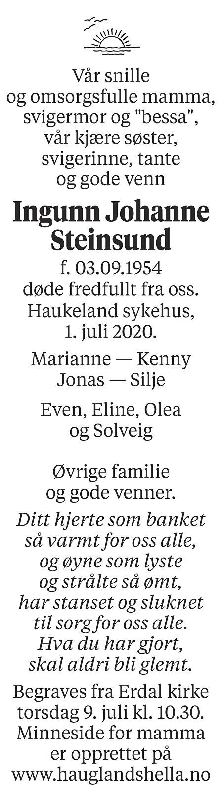 Ingunn Johanne Steinsund Dødsannonse