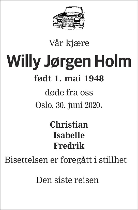 Willy Jørgen Holm Dødsannonse