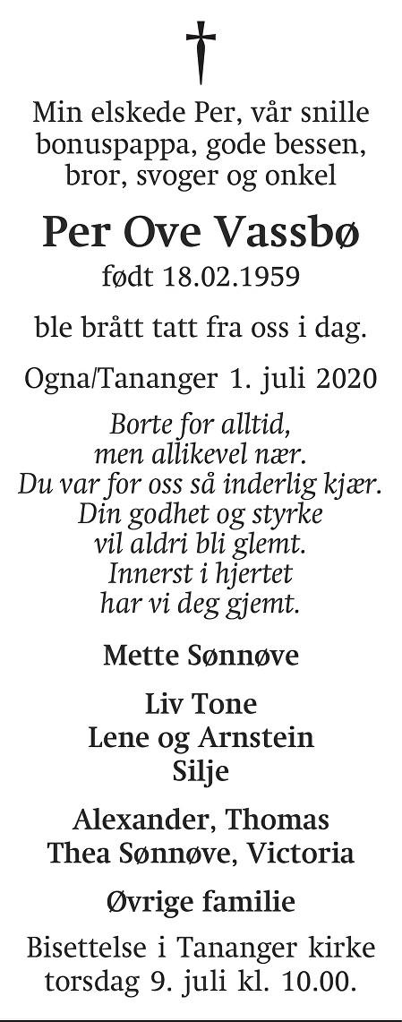 Per Ove Vassbø Dødsannonse